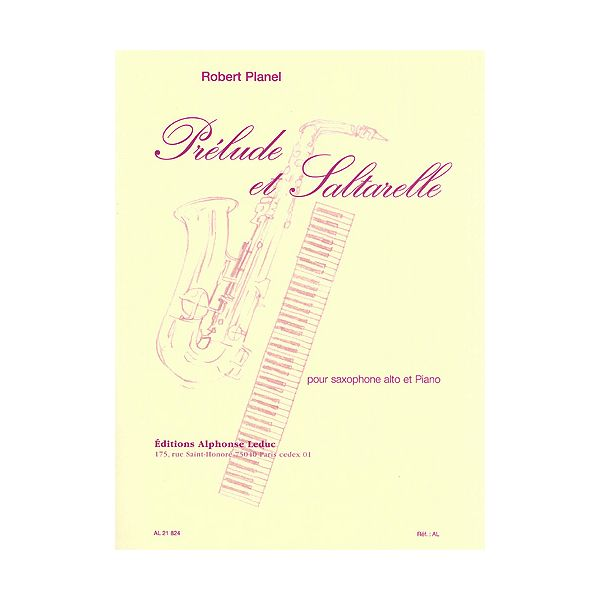 Planel: Prelude Et Saltarelle-Saxophone Mib Et Piano